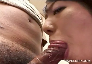 horny asian blows shaggy dong in close-up