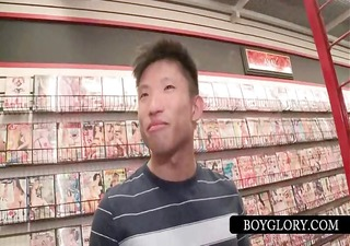 asian acquires gay schlong sucked on gloryhole